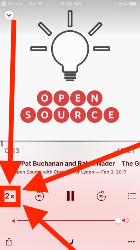Increase the podcast playback speed on iPhone