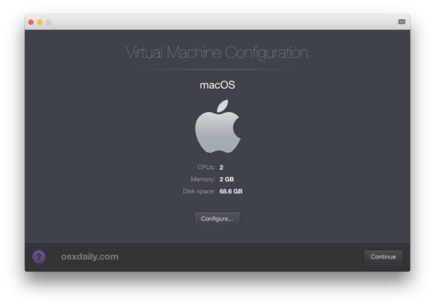 Create the Mac OS virtual machine