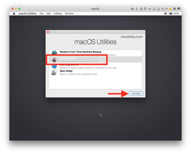 Install macOS in the virtual machine