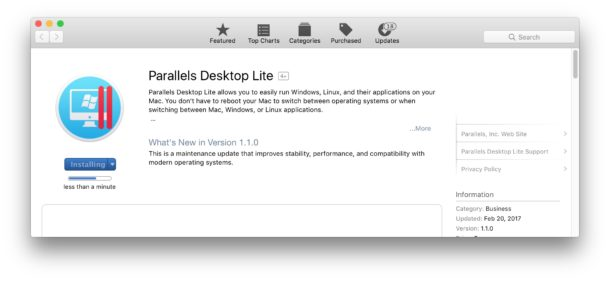 Download Parallels Lite from Mac App Store
