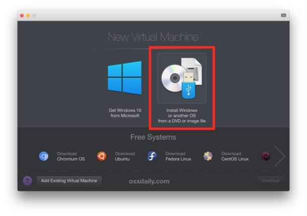 Choose other disk image