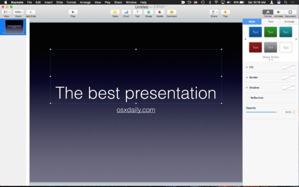 Saving a keynote file as Powerpoint on Mac