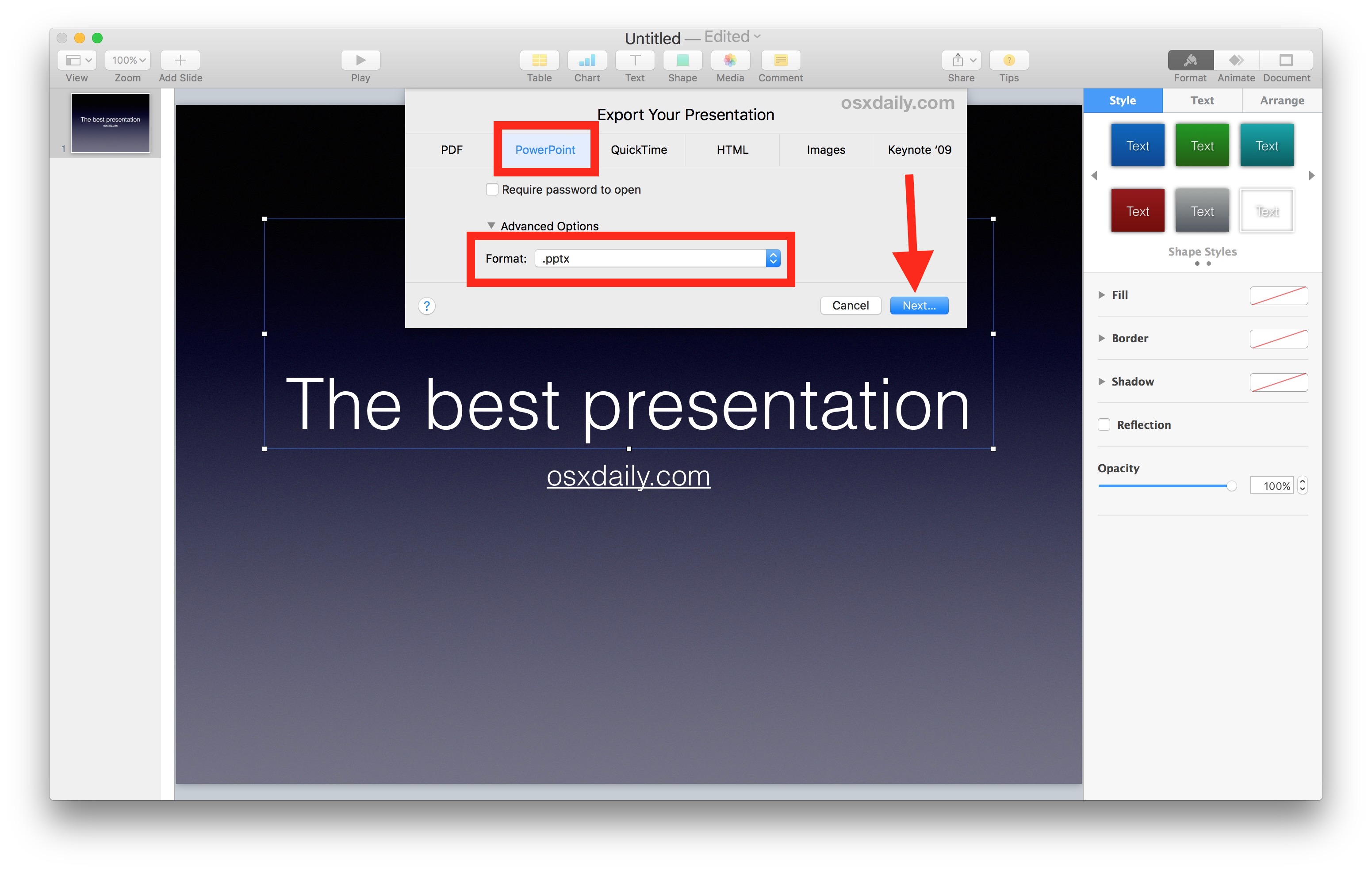 Save a Keynote file as Powerpoint on Mac