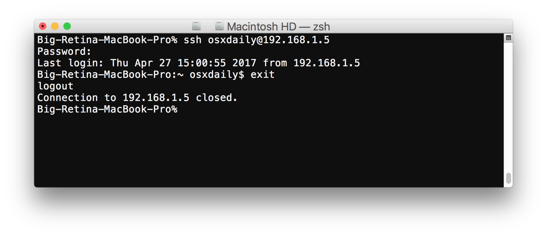 SSH on Mac