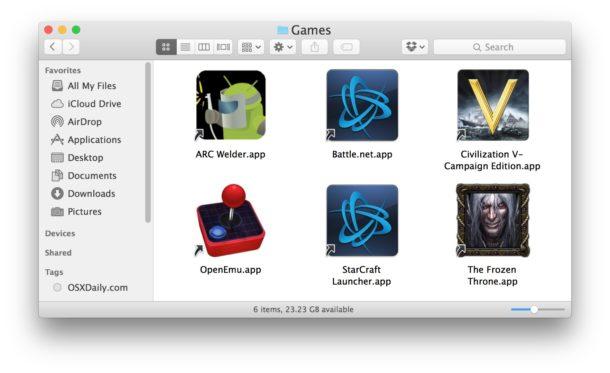 A folder full of aliases on the Mac