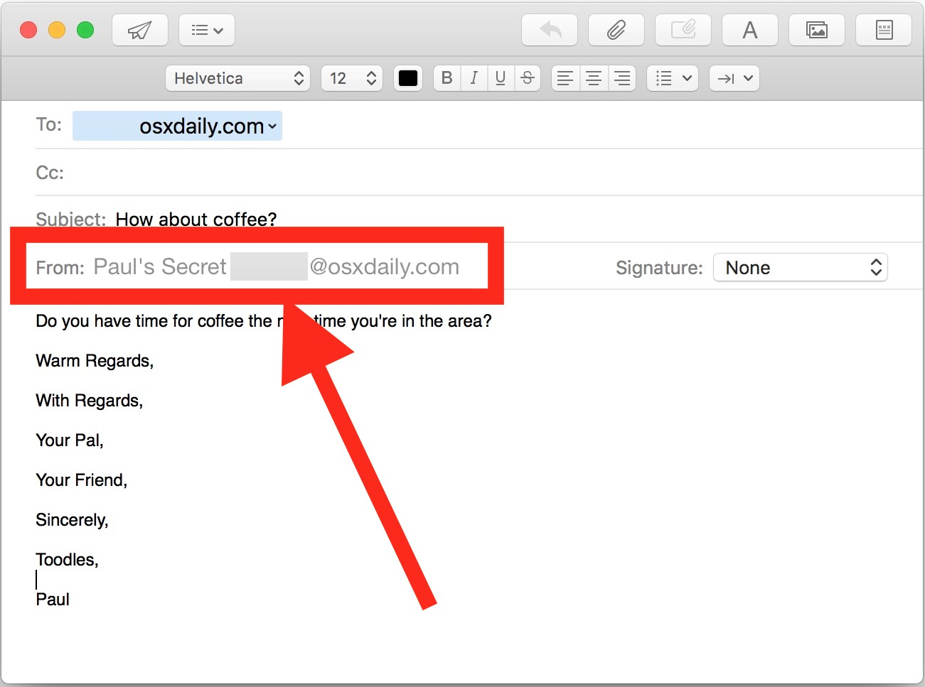 Change the Sent From email address per email on Mac Mail app
