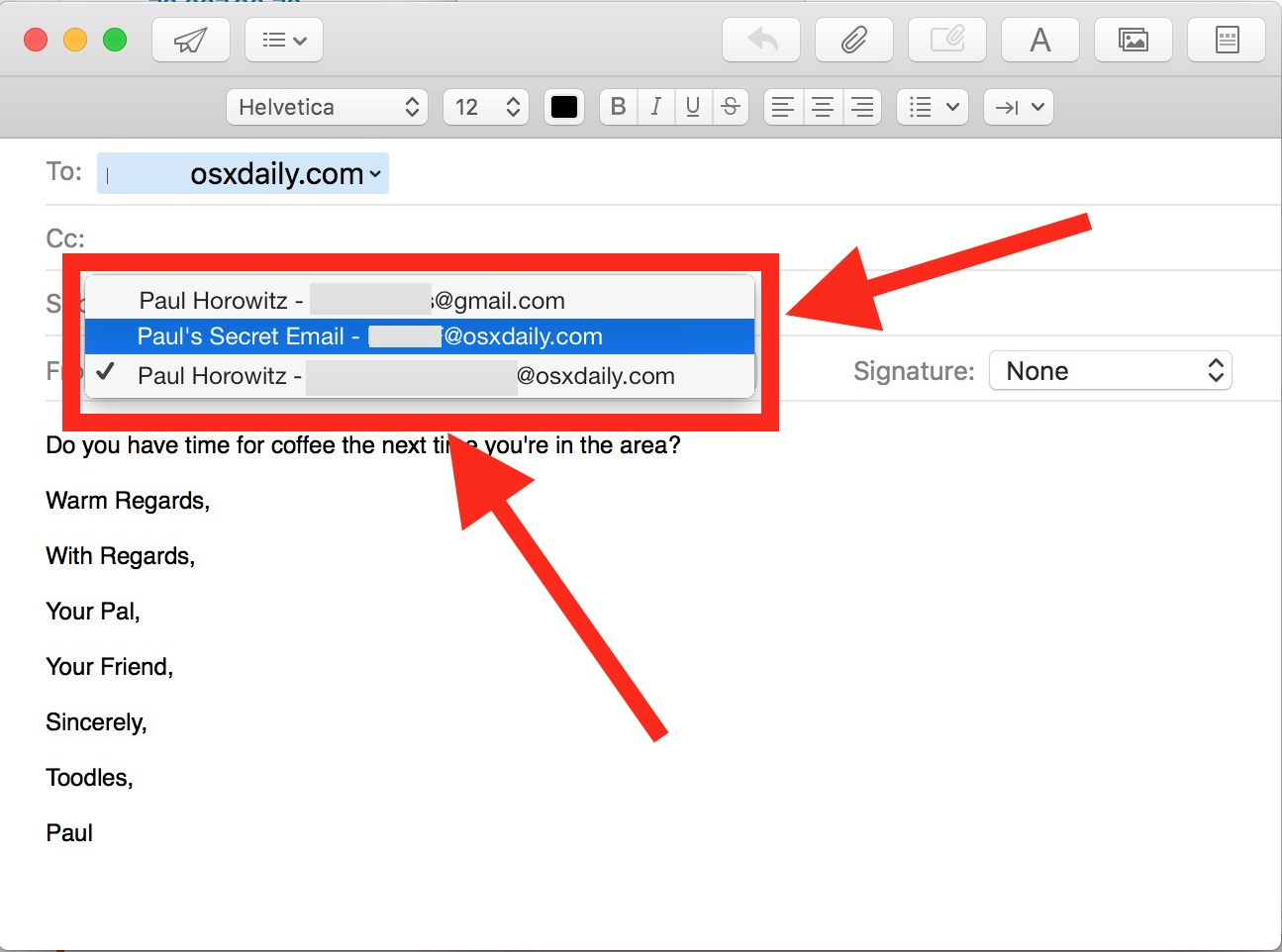 Change the Sent From email address per email on Mac