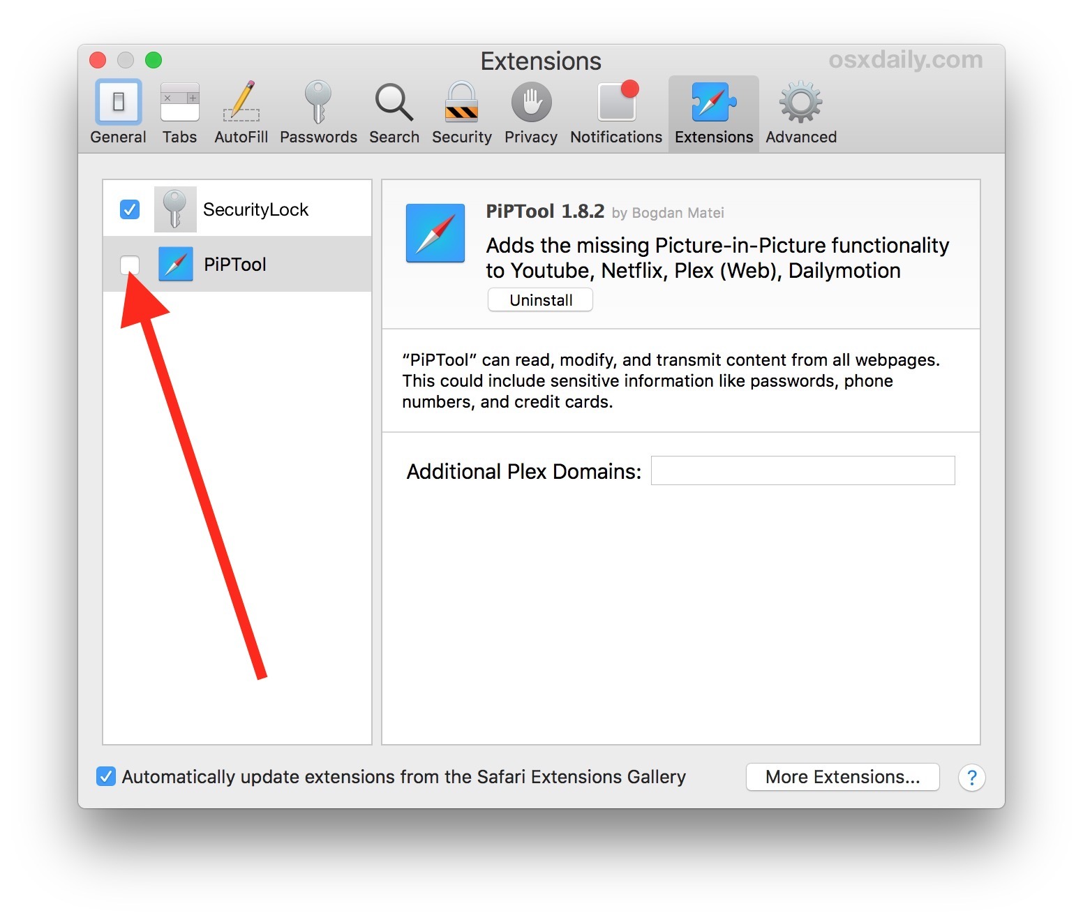 Disabling a Safari extension on Mac