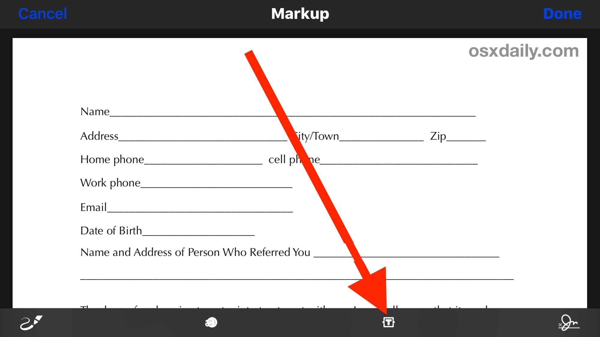 Filling out a PDF form and editing a PDF from iPhone with Markup
