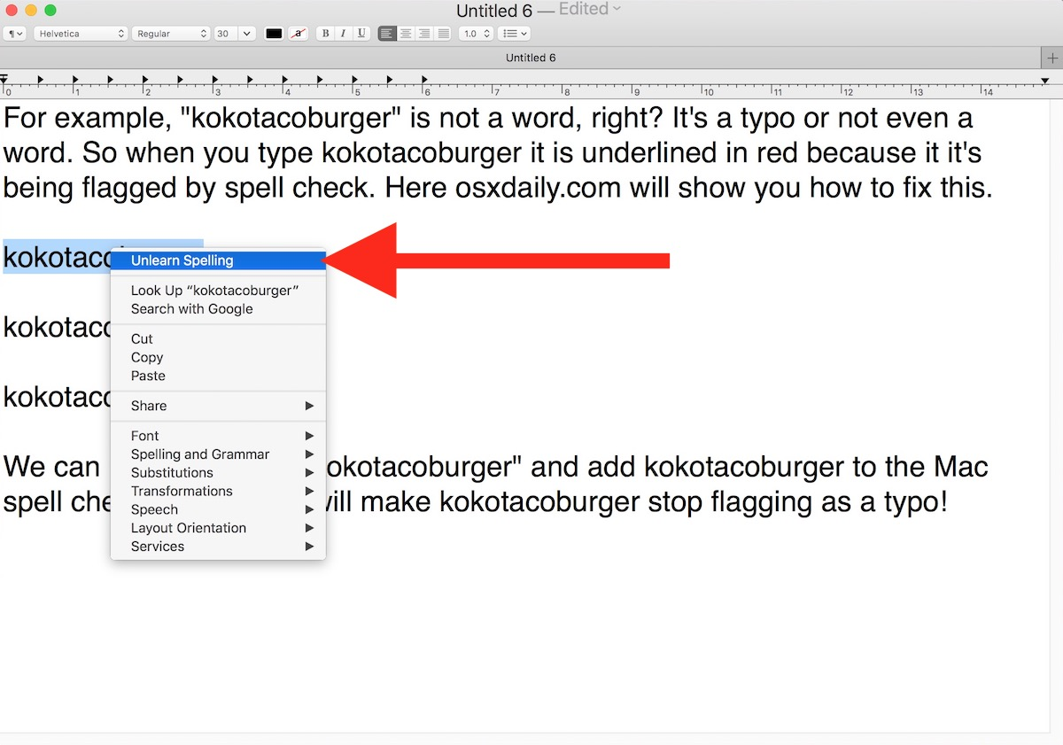 Learn new spelling of word in spellcheck for Mac