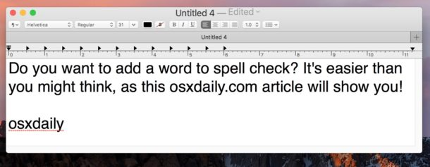 How to learn new spelling of a word on Mac spellcheck