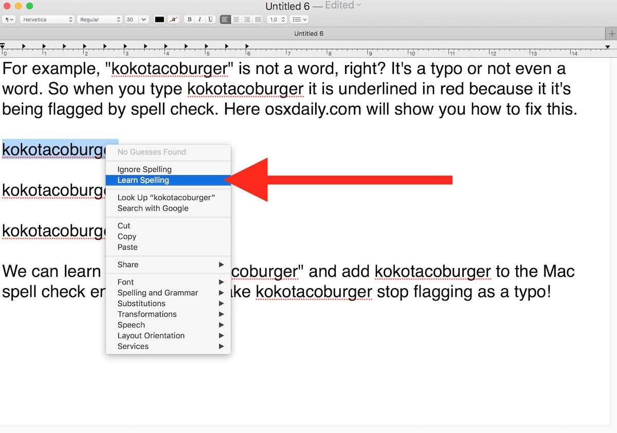 How to unlearn spelling of a word on Mac spellcheck