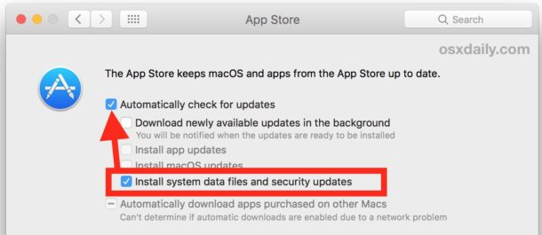 Make sure important security updates install on a Mac
