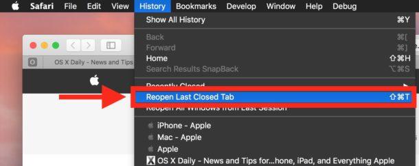 Reopen last closed in tab or window in Safari on Mac