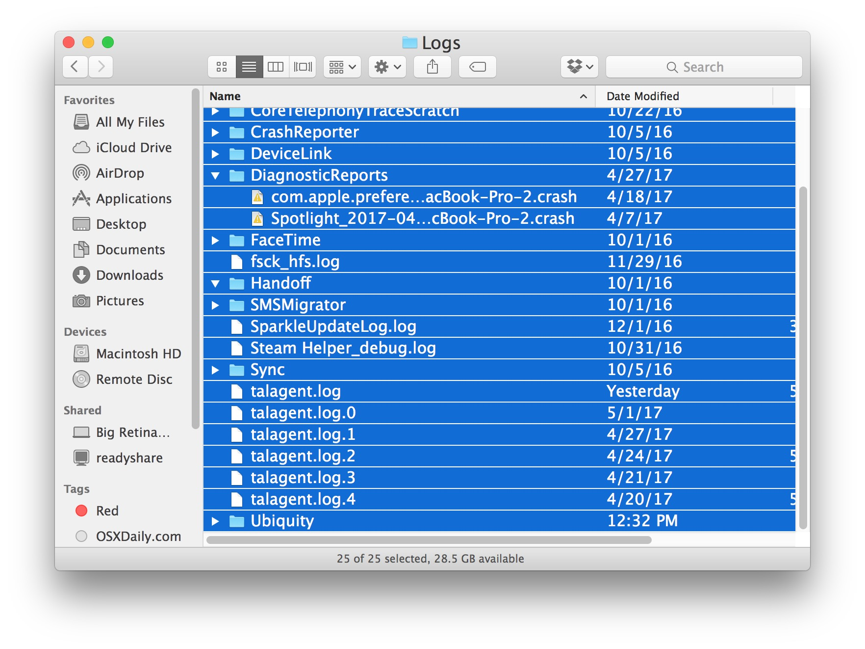 All user logs on a Mac can be removed
