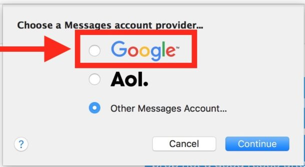 Choose Google as account to messages for mac