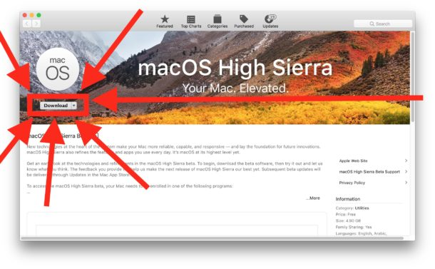 Download macOS High Sierra Public Beta