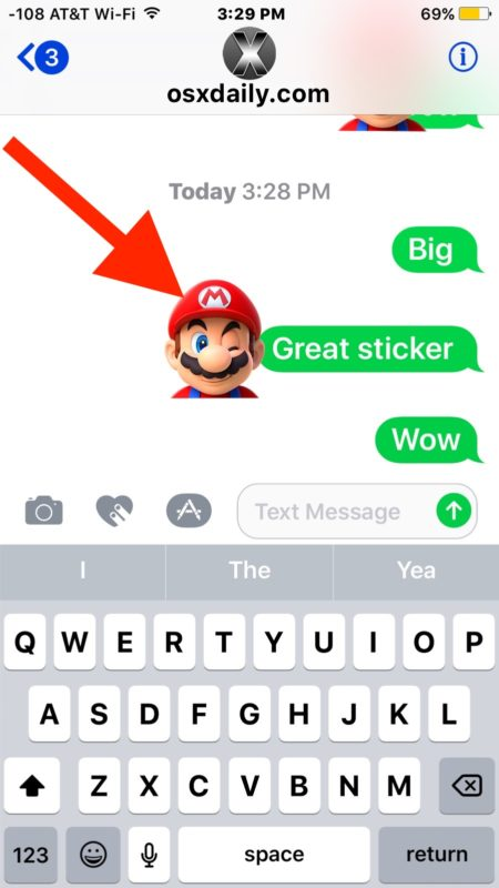 Find where a sticker came from in iOS Messages
