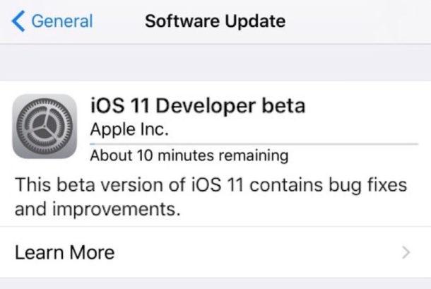 iOS 11 beta installing
