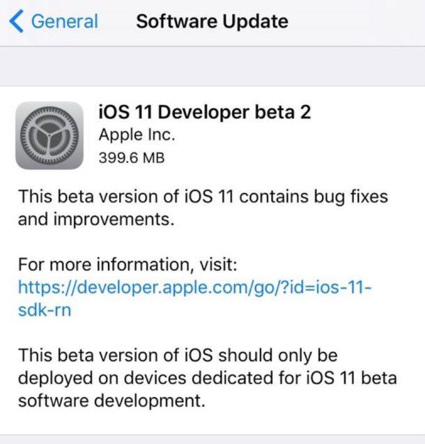 iOS 11 developer beta 2