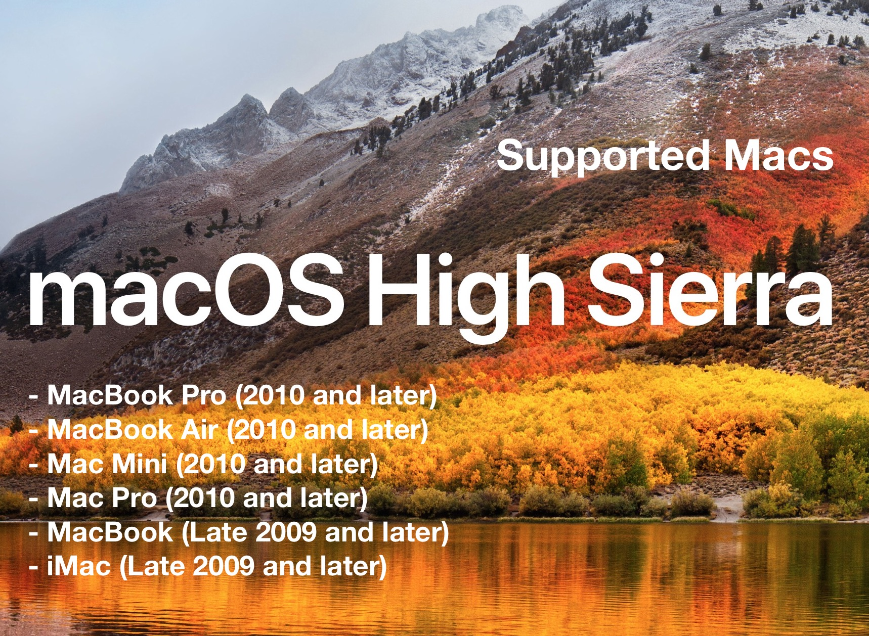 macOS High Sierra compatibility list