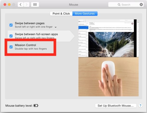 Opening Mission Control settings on Mac Magic Mouse