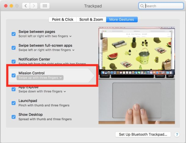 Mission Control activate with Trackpad on Mac