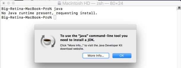 Start installing Java on MacOS