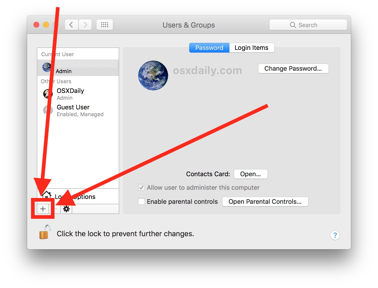 Creating a new admin user account on the Mac