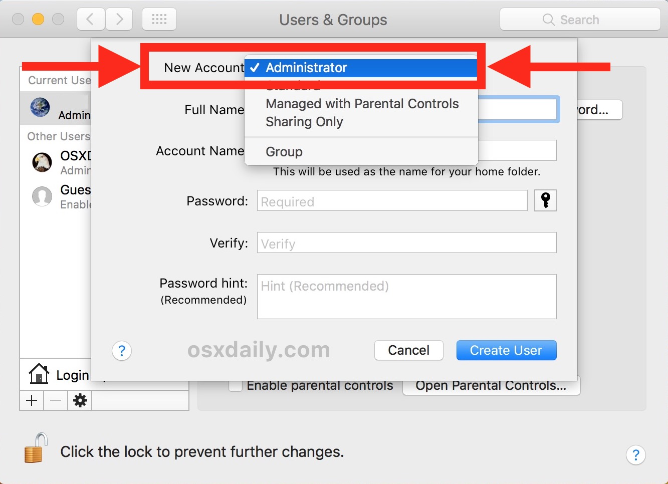 Choose to create a new admin account