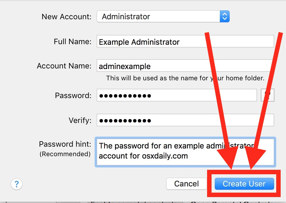 Create a new admin account in Mac OS