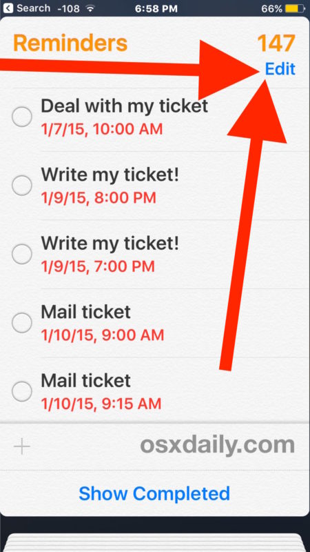 Choose Edit to delete Reminders list  in iOS