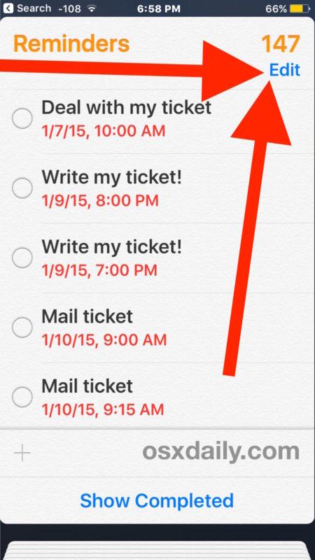 Choose Edit to delete Reminders list  in iOS