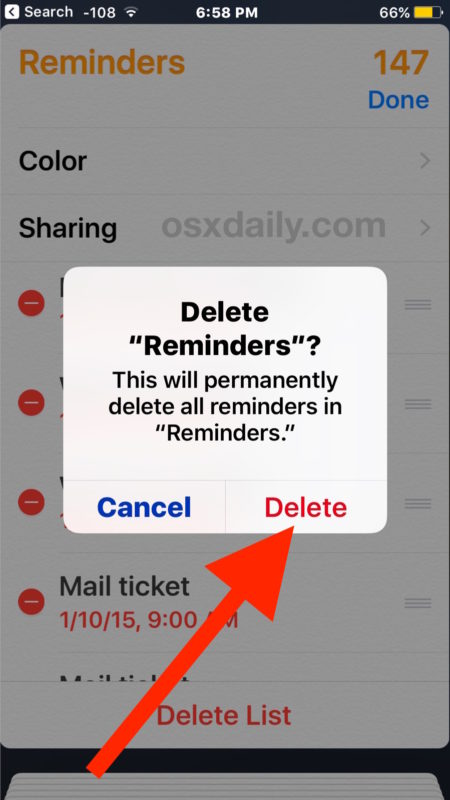 Confirm that you want to delete all reminders in the list shown in iOS