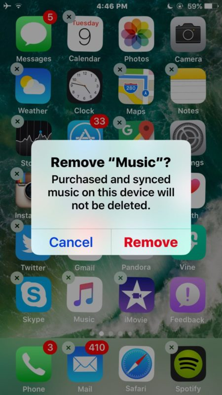 Delete music app in iOS
