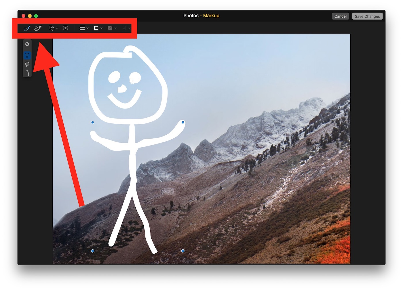 Use the markup tools to draw on the picture in Photos for Mac