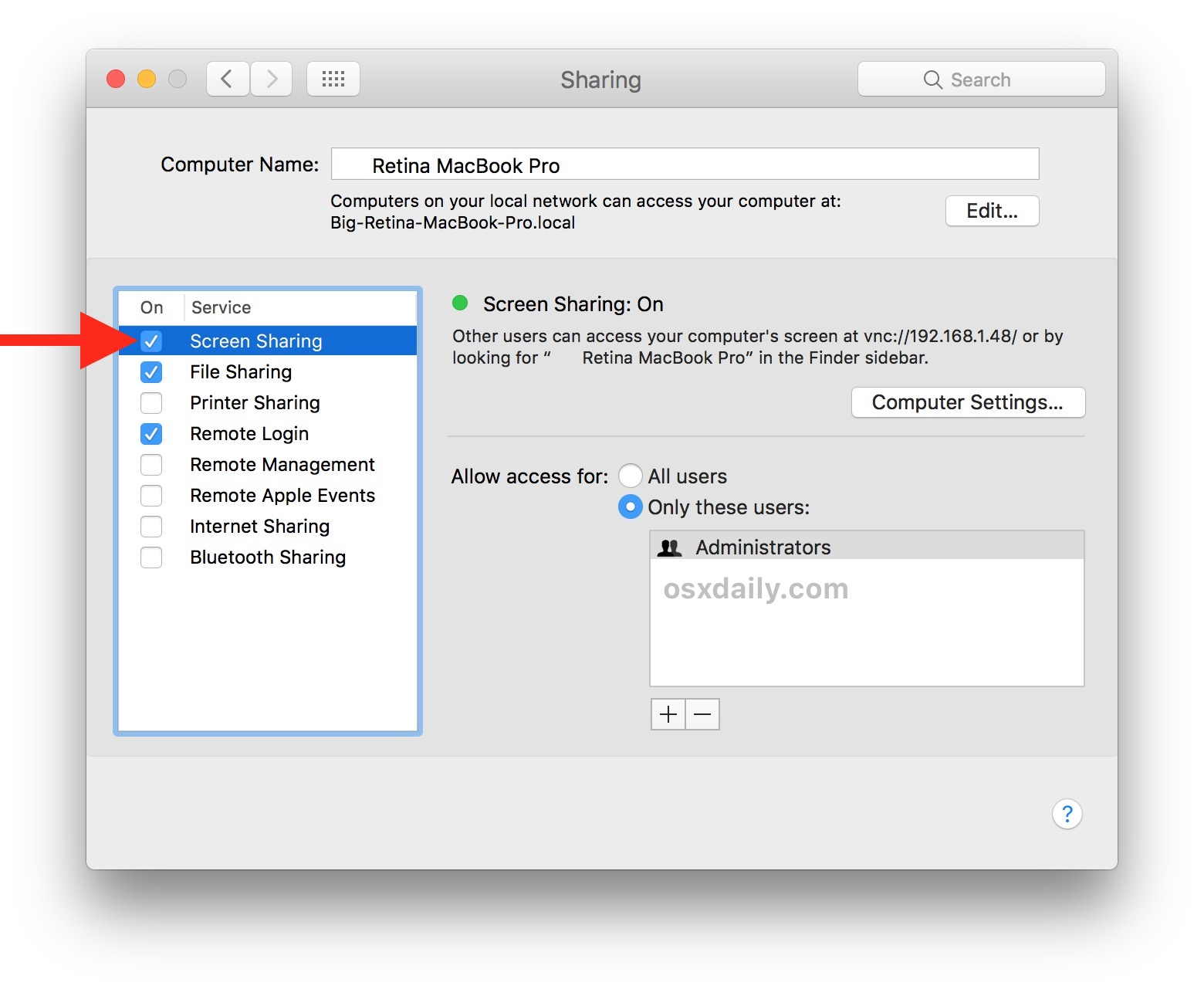 Enable Screen sharing on the Mac