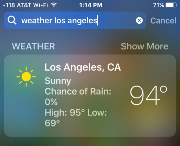 Get Weather from Spotlight in iOS