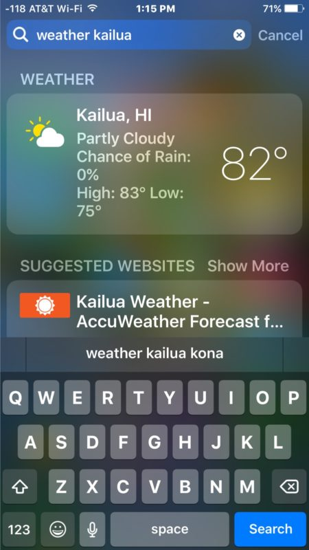 Get weather report from Spotlight in iOS