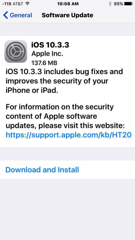 iOS 10.3.3 download update