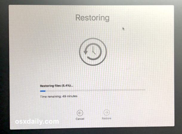 Restore from Time Machine backup to downgrade from High Sierra beta
