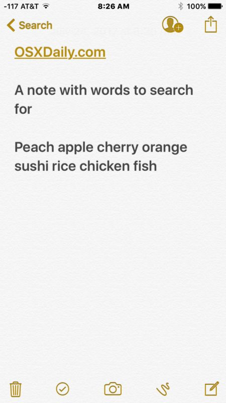 Matched note based on search term
