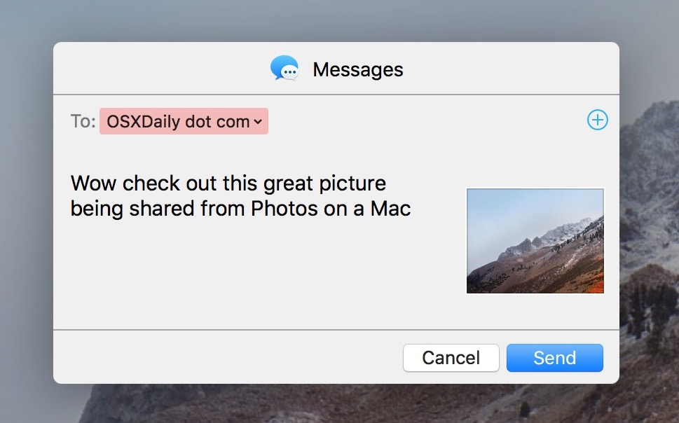 Sharing a picture from the Photos app on Mac