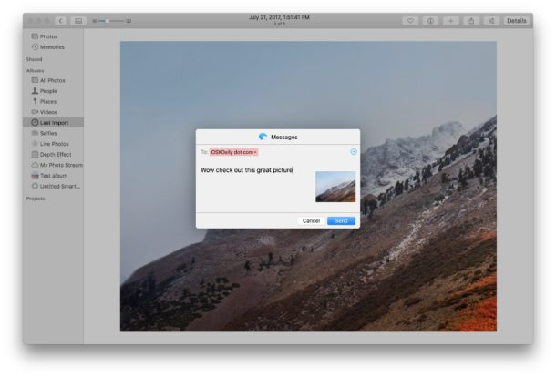 Sharing a picture from Photos on the Mac
