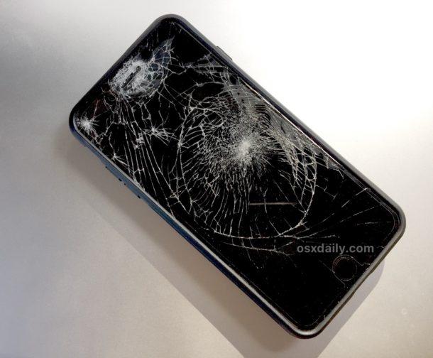 Broken iPhone plus screen glass