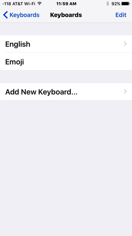 Deleted a keyboard language from iOS