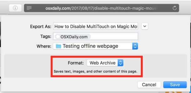 Choose Web Archive as the save format