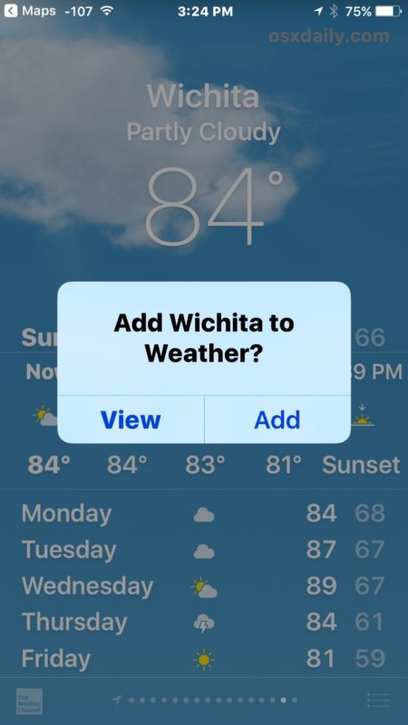 Add a location to Weather app from Maps app