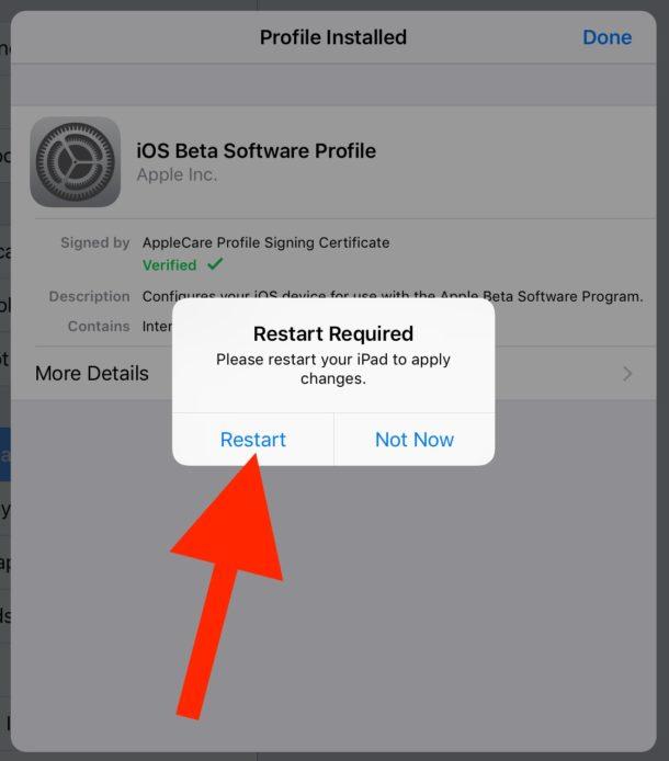 Restart to install iPad beta profile