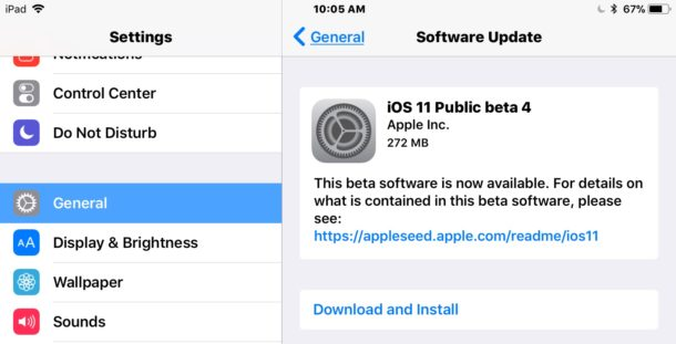 iOS 11 public beta 4 download